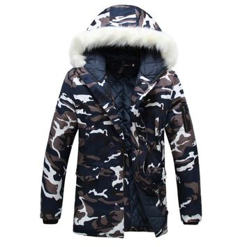 2018 New Men Women Long Winter Skiing Jacket Coat Camouflage Hooded Overcoat Couple Fur Collar Outdoor Snowcoats Plus Size 5XL