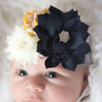 Navy grey baby headband