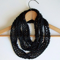 Black Knitted Skinny Infinity Scarf Hand Beaded Looped Mobius Scarf Luxury Boho Rocker Grunge Goth