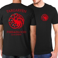 Targaryen Fire & Blood Men T shirt 2018 Summer New Style Game of Thrones  T-Shirts For Men Casual Slim Fit Fashion Men Tops Tees