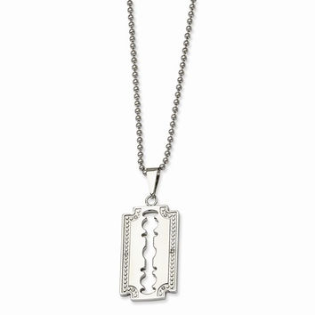 Stainless Steel, Diamond Razor Blade Necklace