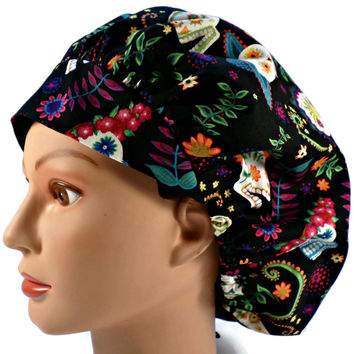 Women's Bouffant, Pixie, or Ponytail Surgical Scrub Hat Cap in Folklore Skulls