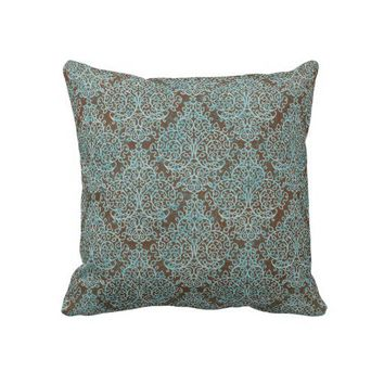 Blue & Brown Swirl Decorative Throw Pillow from Zazzle.com