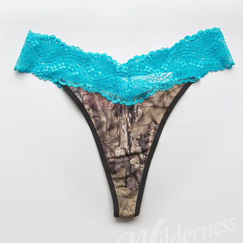 Wilderness Dreams Mossy Oak Aqua Lace Thong