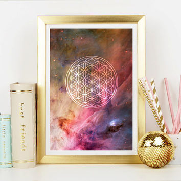 Flower of Life Free Spirit Art Print - Home Decor - Hippie Art Print - Art Print - Spiritual Print - Esoteric Print