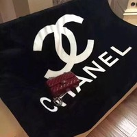 Chanel Black Conditioning Throw Blanket Quilt For Bedroom Living Rooms Sofa