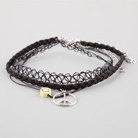 Full Tilt 3 Pack Tattoo Choker/Peace/Happy Face Necklaces Black One Size For Women 25931710001
