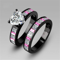 Heart Colorful princess cut AAA cz stone engagement ring wedding band set 18k black gold plated [7640265478]