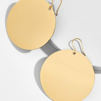 Disc Drop Earrings-Gold