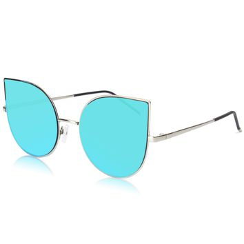 SojoS Cat Eye Mirrored Flat Lenses Ultra Thin Light Metal Frame Women Sunglasses SJ1022