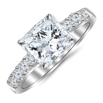 CERTIFIED 1.10 Carat Princess Cut/Shape 14K White Gold Classic Prong Set Diamond Engagement Ring