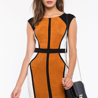 Sueded Colorblock Sheath Dress