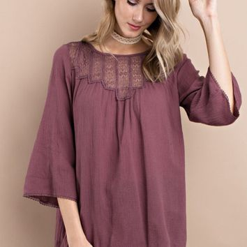 Faded Plum Loose Fitting Tunic Top