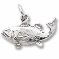 Fish Charm In 14K White Gold