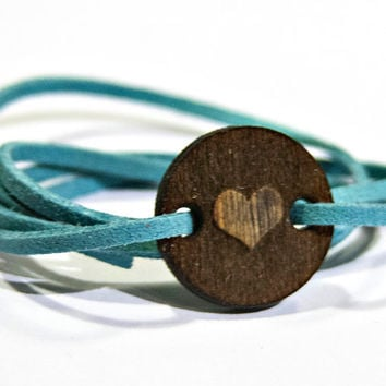 Circle Heat Symbol Wood Bracelet with Faux Suede Band