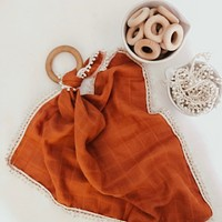 Rust Gauze Lovey with Teething Ring