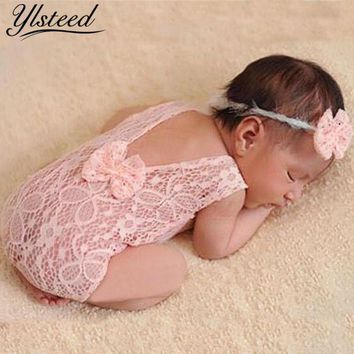 Newborn Photography Props Backless Hollow Bowknot Lace Costume Baby Romper Headband Infant Photo