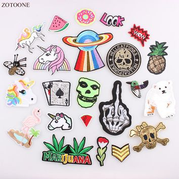ZOTOONE Patches For Clothing Unicorn Skull Rose Flamingo Biker Patch Militar Iron On Cute Patch For Jean Jackets DIY Applique B