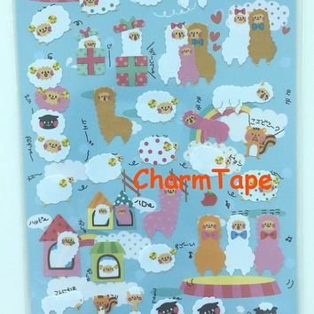 Fortissimo Deco art stickers - Cute White Sheep & Alpaca  1 Sheets SS431
