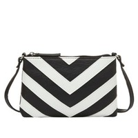 Black/White Chevron Cross-Body Purse by Charlotte Russe