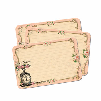 La Cuisine Recipe Cards in Pink - Kitchen Scale - Set of 12