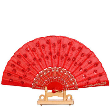Spanish Party Dance Folding Hand Fan Sequined Whoesale