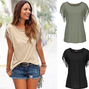 Arizona Fringed Short Sleeve Top