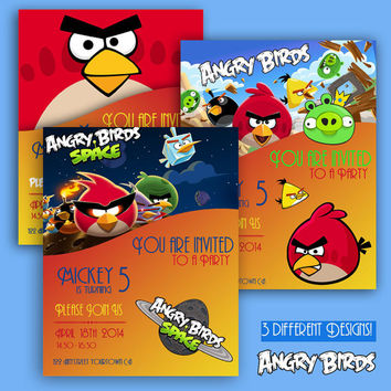 Angry Birds - Birthday Invite Cards - 3 different designs - High Quality 300 DPI- Customized -Party Printables