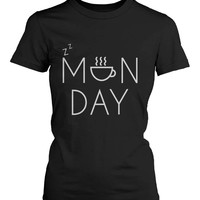 Funny Graphic Statement Womens Black T-shirt - Monday