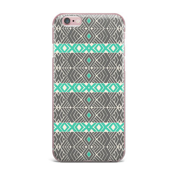 """Pom Graphic Design """"Going Tribal"""" Gray Green iPhone Case"""