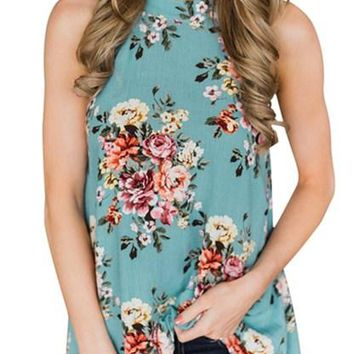 Mint Green Floral Back Cutout Sleeveless Summer Top
