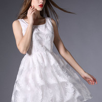 White Scoop Neck Embroidery Feather A-line Dress