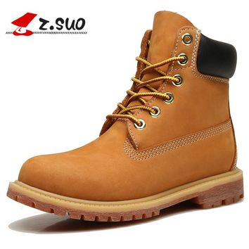 Classic Yellow Nubuck Leather Women Boots Fashion Leather Genuine Ankle Boots Spring Lace-up Work&Safety Shoes For Women