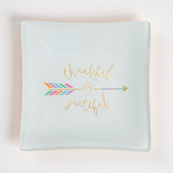 """Square Glass Tray """"Thankful & Grateful"""" By Natural Life"""