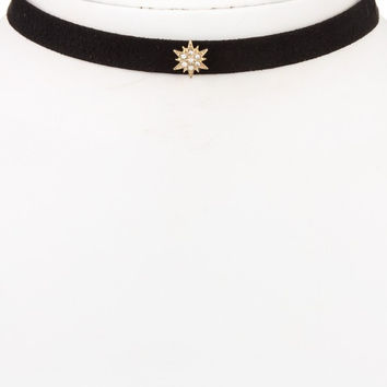 Rhinestone Star Pendant Faux Suede Choker Necklace