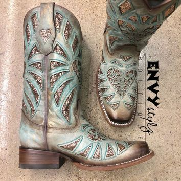 Corral Mint Glittered Inlay and Studs Square Toe Boot