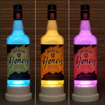 Jim Beam Honey Whiskey Color Changing LED Remote Control Bottle Lamp Bar Light Bodacious Bottles