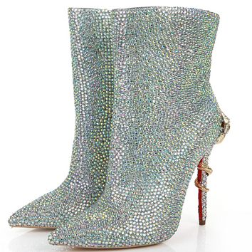 Leather Rhinestone Snake Zipper Ankle Boots