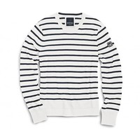 Nautical Stripe Crew Neck Sweater in Ivory and Navy by Sperry Top-Sider