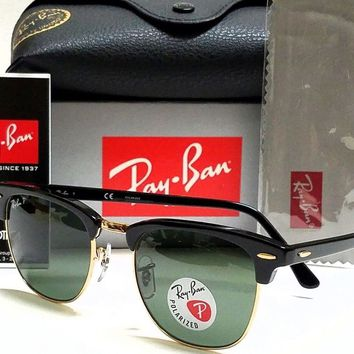 Authentic Ray-Ban Clubmaster RB3016 901/58 Black Gold/Green Polarized Lens 51mm