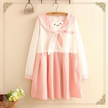 Japanese Pink Rabbit Bow Sailor Color Kawaii Dress Women Spring Autumn Sweet Embroidery Patchwork Long Sleeve School Dress T365