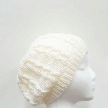 White beanie, knitted hat, beanie beret, one of a kind  4959