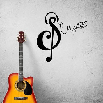Wall Decal Music Note Treble Clef Melody Song Vinyl Sticker (ed1261)