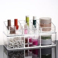 Acrylic Crystal Double-deck Cosmetic Organizer Makeup Case Jewelry Box Gift