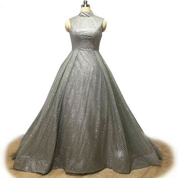 Silver Sequined High Neck Evening Dress Shiny Sleeveless Ball Gown Floor Long Prom Gown Custom