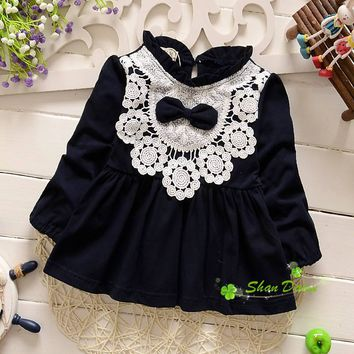 2017 spring and autumn baby girls fashion bowknot lace cute princess dress ,infant sweet dresses,4 colors to choose,V1874