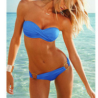 New Women Sexy Bikini Set Swimwear Strapless Padded Bathing Suit+shoulder Strap