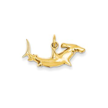 14k Yellow Gold Hammerhead Shark Charm