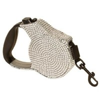 Silver Crystal Case Rhinestone Retractable Dog Leash Small 9 Feet Long Supports up to 30-Pound
