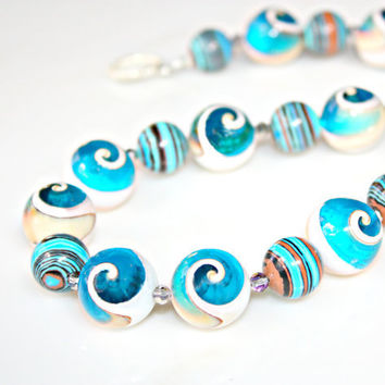 BLUE Conch SHELL Necklace - with Unique Spiral Conch Shell Beads with Blue Resin & Desert Turquoise by Mei Faith